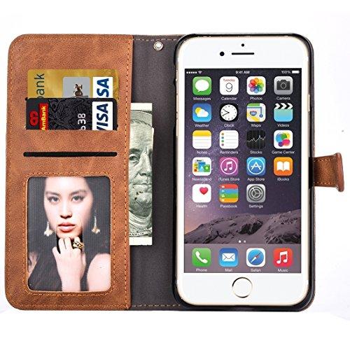 Phone case & Hülle Für iPhone 6 / 6s, Stickerei Blumenmuster Horizontale Flip Leder Tasche mit Halter & Card Slots & Wallet & Photo Frame ( Color : Brown ) Brown