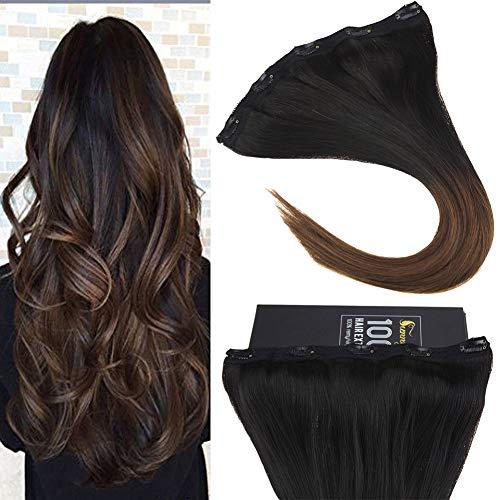 Sunny ombre one piece clip in 3/4 testa completa lisci extension 70g naturali capelli veri clip 20pollice ombre nero naturale a marrone scuro (#1b/4)