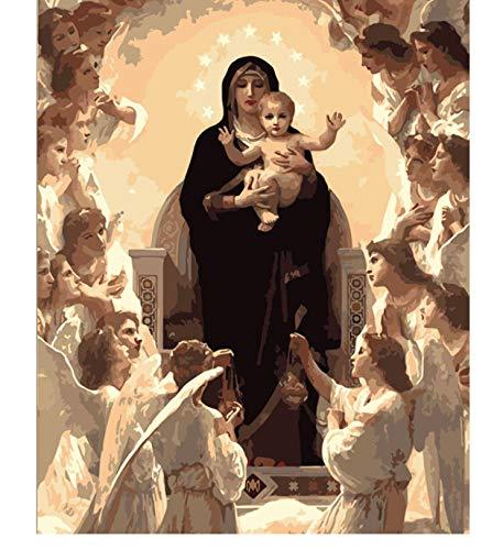 Figura de la Virgen María DIY Pintura digital por números Arte moderno de la pared Pintura de la lona Decoración única del hogar de Navidad 40x50cm sin marco
