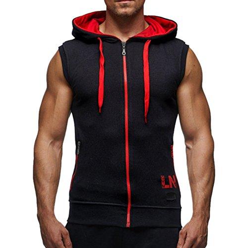 Mann Mantel Sport (Bold Manner Herren Ärmelloses Shirt Sport Tops Hoodie Kapuzensweatshirt mit Reißverschluss Mantel)