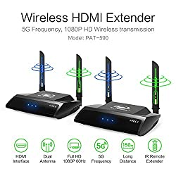 PAKITE HDMI Wirless AV Sender Receiver, Audio Video Transmitter and Receiver, 429 FT. Multi-channels Video Transmission Support IR Remote Wi-Fi Extension Antenna