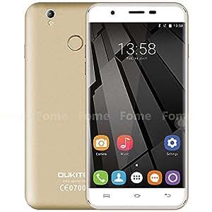 Oukitel U7 Plus - 5,5 pollici HD Android 6.0 4G smartphone quad-core a 1,3 GHz 2 GB di RAM 16 GB ROM scanner di impronte digitali GPS Dual SIM 13 MP - champagne oro