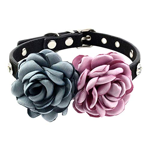 ChanYYw Hundehalsband,Haustier schöne Kragen handgemachte,Blume Haustier Hund Welpe Katze Kragen Haustier Halsband Gurt Blue+Purple M -