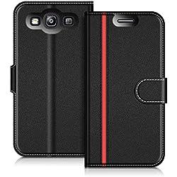 COODIO Coque en Cuir Samsung Galaxy S3, Étui Téléphone Samsung S3, Housse Pochette Galaxy S3 Fonction Stand Etui Coque pour Samsung Galaxy S3 / S3 Neo, Noir/Rouge