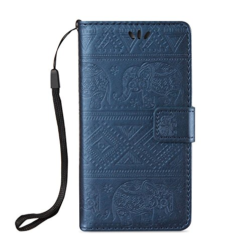 JIALUN-Telefon Fall Für Apple IPhone 6 & 6s Pure Farbdruck Elefantenmuster mit Kartensteckplatz, Lanyard Flat Open The Phone Shell ( Color : Brown ) Blue