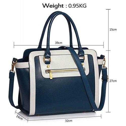 xardi London Monochrome Multi Donna in Pelle Sintetica Borse A Spalla Grab Bags Navy/White Style 2