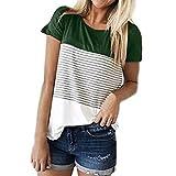 SEWORLD 2018 Damen Mode Frauen Sommer Herbst O-Ausschnitt Kurzarm Dreifach Farbe Block Streifen T-Shirt Casual Bluse(A-a-Grün,EU-48/CN-2XL)