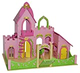 Unbekannt XL Zauberschloß - Puppenhaus aus Holz für Biegepuppen - Set Puppenstube Puppenhaus - Schloß Märchenschloß rosa pink - Kinder Mädchen Feen Elfenschloß