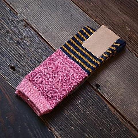 SROUFU 2paia femminile, cotone, fiocco di neve pattern, stripe colore