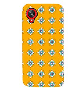 Printvisa Yellow And Flue Floral Pattern Back Case Cover for LG Google Nexus 5::LG Google Nexus 5 (2014 1st Gen)