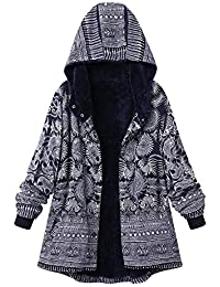 e8bed646370b Lazzboy Womens Coat Jacket Ethnic Boho Print Warm Flannel Inner Cotton  Padded Hooded Loose Outerwear
