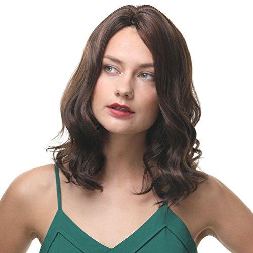 Mittlere Länge Schulter Länge wellenförmige Perücken sowohl für schwarze und weiße Frauen Premium Damen Perücke 100% synthetische Kanekalon hitzebeständig gute Garantie (dunkel braun)
