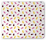WYICPLO Ice Cream Mouse Pad, Frozen Fruit Flavored Popsicles in Cartoon Style on Polka Dot Background Cute, Standard Size Rectangle Non-Slip Rubber Mousepad, Multicolor