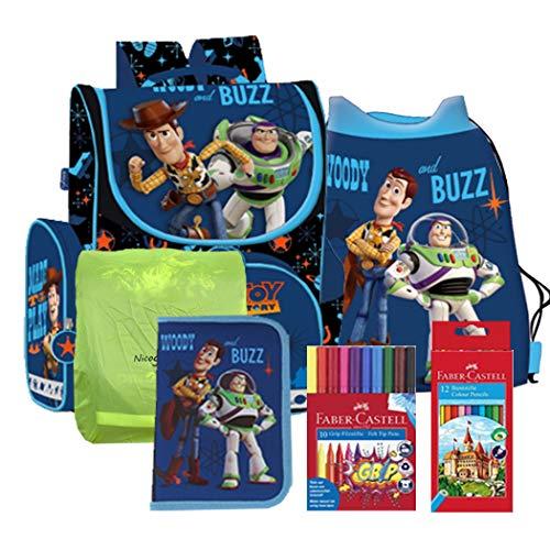 Toy Story 4 Woody Buzz Schulranzen Ranzen Schulmappe Tornister Schulrucksack Rucksack Set inkl. Regenschutz