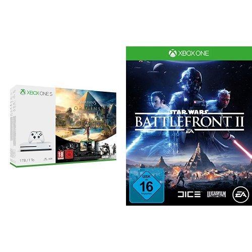 Xbox One S 1TB Konsole - Assassin's Creed Origins Bonus Bundle inkl. Tom Clancy's Rainbow Six: Siege Spiele-Download + Star Wars Battlefront II - [Xbox One] (Battlefront Star Wars Xbox 360)