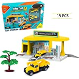 MEETHOT Distributore di Benzina Kids-Stazione di Servizio Car-Service Autofficina Garage con 2 macchinine per bambini 15pz