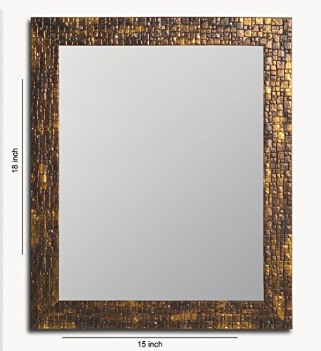 Painting Mantra Lavaliere Fiber Wood Wall Mirror (38 cm x 48 cm x 3 cm, Antique Gold)