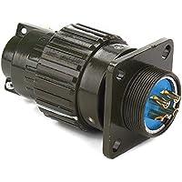 """Negro Aluminio Y2M-4TK 4pines circular redonda hembra y macho conector agujero de diámetro 21,5mm/0,85"""""""
