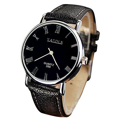 YaZhuoLun Damen Herren Armbanduhr,Legierung und PU-Leder Wasserdicht Quarzuhr Paar Uhren Uhr(Weiß,Groß)