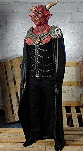Fürsten Kostüm - Authentisches Teufelskostüm mit Umhang und Maske mit Hörnern - Fürst der Finsternis Dämon Satan