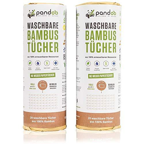 100% Bambus Küchenrolle 2er Pack - waschbare Haushaltstücher, umweltfreundliche Papiertücher, ersetzt bis zu 60 Haushaltsrollen, saugstärker und reißfester als herkömmliche Küchentücher 2er Pack Bambus