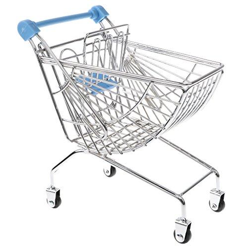 MagiDeal Mini Metall Einkaufswagen Supermarkt Trolley Spielzeug für Kinder Kaufläden Rollenspiele - Blau, # C