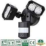 Projecteur LED détecteur de mouvement, Sansi 18W 1800LM 5000K spot led exterieur avec detecteur, IP65 lampe de sécurité idéal pour éclairage public, garage, couloir, jardin, etc