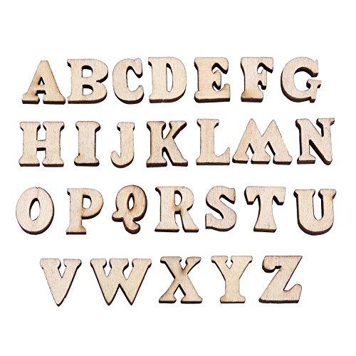 Wytino Holztisch Zahlen, 200 Stücke Gemischt Holz Hauptstadt für Kunsthandwerk DIY Dekoration Zeigt Holz Scheibe A-Z Buchstaben oder 0-9 Zahlen Kinder Frühes Lernen Spielzeug(# 1)