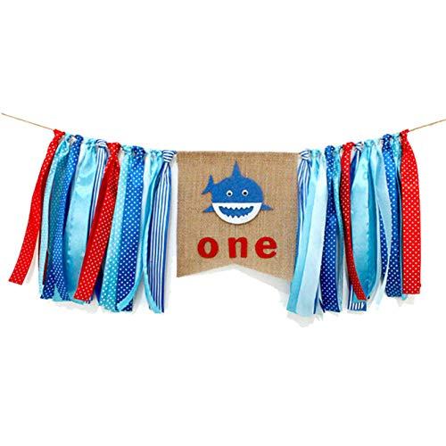 YanRong Hai-Motiv Baby First Birthday Banner für Hochstuhl, Wanddekoration, Baby Boy Photo Booth Requisiten Girlande Hintergrund Blue Sharkbaby