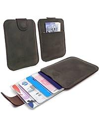 Tuff-Luv Western Leather Collection Quick Release 5 Carte de crédit Case / Portefeuille - Marron