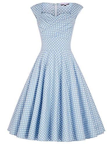 50s Vintage-kleid hellblau geburtstag kleid rockabilly kleid knielang casual kleid L BP105-4