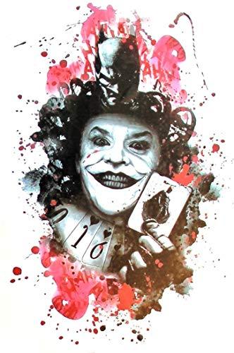 EROSPA® Tattoo-Bogen temporär - Joker Clown Halloween Karten
