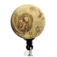 Da Vinci Study of The Fetus - بكرة شارة قابلة للسحب مع مشبك دوار وسلك بطول إضافي 34 بوصة - حامل شارة