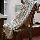 Yazi beige Strick Schal Decke Baby Soft Warm Überwurf Fauteuil Tagesdecke Sofa Baumwolle für Zuhause Auto Bett 180x 200cm