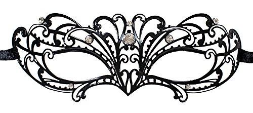 Metall Augenmaske Shiela - Schwarz mit Strasselementen - Venezianische Maskerade für Kostümball, Maskenball und Fasching (Accessoire Kostüm Maske Hexe)