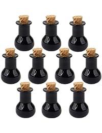 10 Corcho Cristal De Botellas Tarros Bulbo Planas De Mini Viales Mensaje Botella Deseo Negro