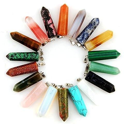cmidy 12pierres de guérison chakra pointu perles Pendentifs point ogive à quartz forme larme cristal pierre Randow couleur perles Pendentif pour Collier Bijoux
