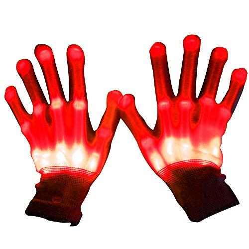 1Paar Licht Up LED Skelett-Handschuhe, Glow Baumwolle Finger blinkende Hand Handschuhe Beleuchtung für Dancing Karneval Concert Halloween Party, rot