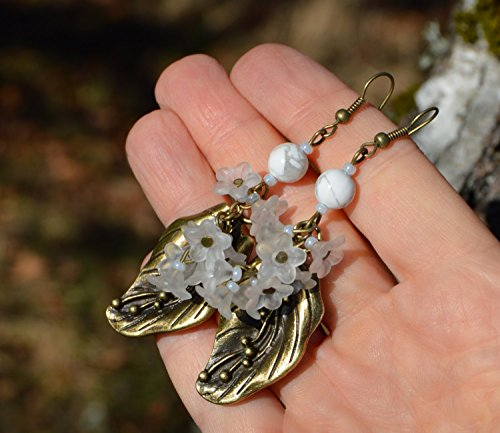 lily-of-the-valley-earrings-white-flower-fairy-dangle-earrings-in-bronze-and-leucite-with-howlite-be