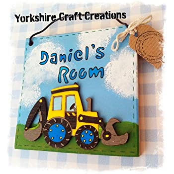 Handmade Handcrafted PERSONALISED with Name Digger Boys Children's Kids Door Sign Bedroom Decor Picture