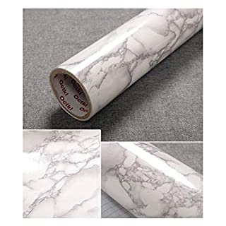 JLCorp 40cm x 200cm White Grey Marble Contact Paper Table Door Sticker Self-Adhesive Film Peel-Stick Wallpaper Gloss Countertops Shelf Liner Sticker Gray Furniture Sticker