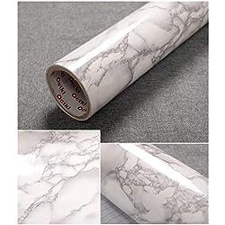 JLCorp - Adhesivo decorativo para puerta, diseño de mármol de mármol blanco y gris, 40 cm x 200 cm