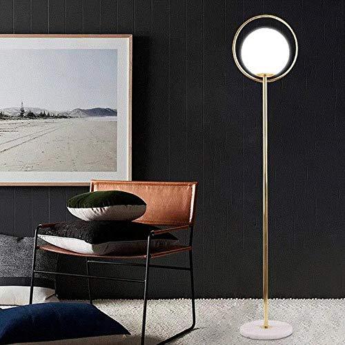 Nordic Post moderne amerikanische einfache Stehlampen Milchglas Ball Schlafzimmer Foyer Studie Stehlampe Foyer Dekoration LED Lampe, klein H.147cm, schwarz -