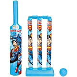 Zitto Superman Mini Cricket Set with 1 Plastic Bat and Ball, 3 Wickets, Base and Bail, Multicolour
