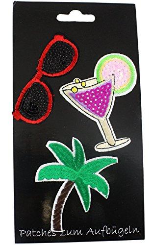 Sonia Originelli Patches 3er Set Aufbügler Aufnäher Flicken Bügelbild Sonnenbrille Cocktail Palme Sommer Party Glitzer Pailletten TA001