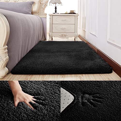 Inmozata - tappeto morbido a pelo lungo, per camera da letto, soggiorno, 70 x 140 cm, colore: nero