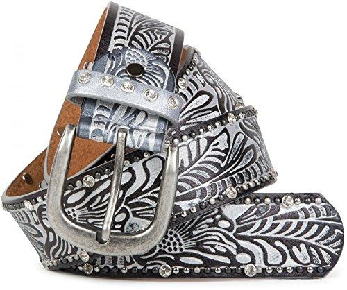 styleBREAKER Vintage Gürtel mit Ornament Prägung, Nieten und Strass, kürzbar, Damen 03010056, Farbe:Silber;Größe:85cm (Jeans-metallic-gürtel -)