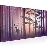 Bilder Wald Hirsch Wandbild Vlies - Leinwand Bild XXL Format Wandbilder Wohnzimmer Wohnung Deko Kunstdrucke Rosa 1 Teilig - MADE IN GERMANY - Fertig zum Aufhängen 013412b