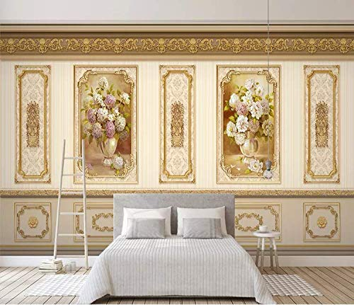 tapete europäische luxusgarten blume gold home decoration abstellgleis wandmauer, 350 cm * 245 cm -
