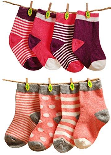 ELE GENS 4/8er Baumwolle Babysocken Erstlingssocken Socken Söckchen Gepunkt Gestreift Set Baby Junge Mädchen Kleinkind Neugeborene (M:...